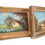 SOLD Pair Oil Paintings.  Rustic scenes.  Framed.  One signed.  Absolutely Charming.  V. Old.