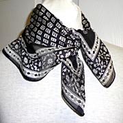 Adrienne Vittadini Designer Scarf.  100% Silk.  Black & White.  Mint condition.