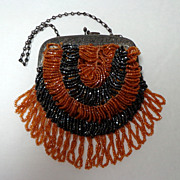 Unusually Small Steel & Glass Beaded Purse.  Black & Caramel  Bugle Beads.  Adorable ++.  Good