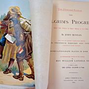 1892 Pilgrim's Progress by John Bunyan. Oversize.  Fabulous engraved & chromolithographed il