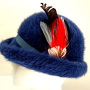 1960's Rolled Brim Bubble  / Pillbox  Hat.  Blue Fur Felt Fuzzy.  Perfect Condition.