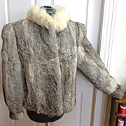 Rabbit Fur Jacket.  Grey & White.  Large.  As New Condition.  Gorgeous.