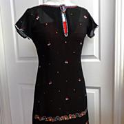 Black Silk Chiffon Beaded Dress.  2 layers.  Incredible beading.  Mint condition.