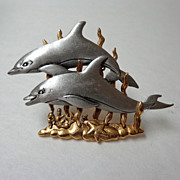 Twin Dolphin JJ Brooch.  Silver & Gold Tones.  Mint Condition.