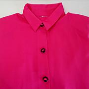 Blouse.  Fabulous Matching Buttons. Deep Rose.  Large size.
