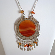 Peruvian Agate & Stainless Steel Necklace.  Ethnic Design.  Mint Condition.