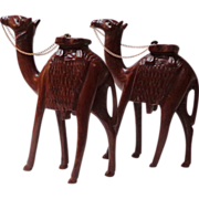 """Pair Large 8 ½"""" Tall.  Hand carved Camels.  Beautifully Carved.  Nativity Scene.  Mint Cond"""