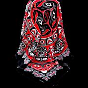Haida  / NW Coast Indian Graphics Scarf.  Signed Oscardo.  Stunning.  Mint Condition.
