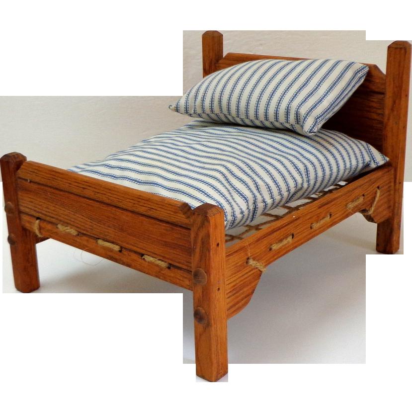 Rope Doll Bed with Mattress & Pillow. Wooden. Mattress ...