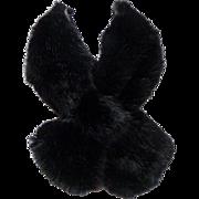 Faux Fox Fur Crossover Scarf.  Black.   Laura Label.  Super Gorgeous.  Mint Condition.