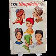 Simplicity #7326 Multiple Hats Pattern.  1967.  Uncut.  Rare.