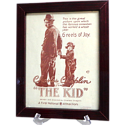 Framed Movie Poster.  Charlie Chaplin.  THE KID.  Smaller Size.