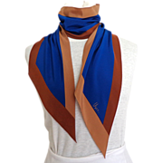 Vera Signed Oblong Pointed Bias Cut Scarf.  Brown, Baize &  Blue.  Dramatic.
