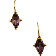 Delicate Etruscan Revival Style Earrings.  Vermeil Settings with  Amethyst.
