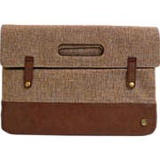 Tweed and Leather Clutch Purse.  Brown. Large.  Distinctive Styling.  As New Condition.