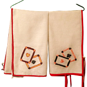 Two Bridge Card Table Cloths.  1930's.  Hand Made and Embroidered.  Very  Old.  Charming.