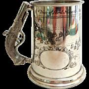 SOLD English Sheffield Pewter Mug.  Musket Handle.   Engraved Nelson's Battle of Trafalgar.