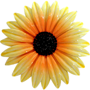 "Large 3 ¼""  Enameled Metal Sunflower Brooch."