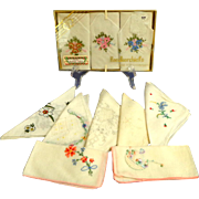 Collection of  Hankies. 3 Boxed.  7 Loose.  Finest Lawn Fabric and Delicate Embroidery.
