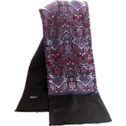 Men's 100% Wool and 100% Silk Scarf / Muffler. Black and Wine and Blue Paisley Pattern ...