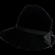 Black Velvet Brimmed Semi-Stovepipe Hat.  PALMER CREATION.  Super Quality.  Super Timeless Chi