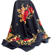 Gorgeous Navy and Florals Large Shawl / Scarf / Pashmina.  As New Condition.
