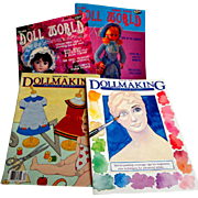 2 Issues Dollmaking and 2 Issues of Doll World. 1980's.  Good Condition.