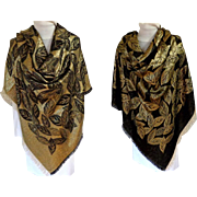 Gold Metallic and Black Scarf / Shawl. Reversible.  V. Large. Spectacular.  Holiday Perfect.
