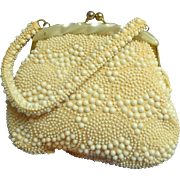 Lovely 1950's White on Cream Beaded Purse.  Lucite Top.  Made in Hong Kong.  Mint Condition.