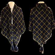 100% Wool Tartan / Plaid Triangular  Shawl / Scarf with Tassels.  Large.  As New Condition.