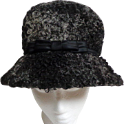 Persian Lamb Gray/Black Hat.  Custom Made.  Mint Condition.