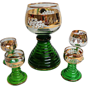 Large Musical Mosel / Moselle Wine Glass and 4 Wine Tasting Glasses.