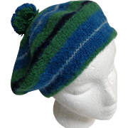 Made in Scotland Tam.  Ancient Douglas. Blue, Green, Navy, and White.   100% Wool.  Uni-sex. Q
