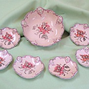 Antique ROSENTHAL CONDIMENT SET. 7 pieces.  Iris Moliere pattern.  Exquisite.