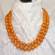 "SALE Bakelite Necklace. 50"" Long Butterscotch Swirl! INCREDIBLE! Mint condition!"