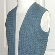 100% Wool.  Ports International Cable Knit Vest.  Absolutely Mint Condition!