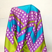 100% Pure Silk Echo Scarf.  Lovely combo of lavender, turquoise, white & lime green.  As New .