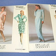 2 Vogue Designer Original Patterns.  Bellville Sassoon.  Size 8 & 10.  Evening wear.  Unused -
