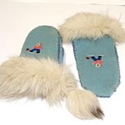 Grenfell Mission Felted Wool & Fox Fur Mitts.  Labrador & Newfoundland.  Historic Folk Art.