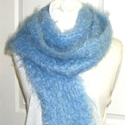 "Incredible Kid Mohair 88"" Scarf.  Soft Blue.  Fantastically light & soft!  Mint condition."