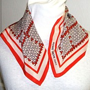 Pierre Cardin Paris Scarf.  Red, white & navy.  Designer, signed.  Gorgeous.  Mint Condition.