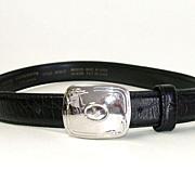 LIZ CLAIBORNE  Black Genuine Leather Belt.  Medium size.  Signed.  Mint, As New, Condition.