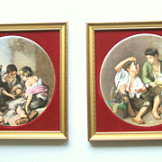 Pair Framed Staffordshire Painted Porcelain / Ceramic Plaques. Charming. Mint condition.
