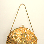 1950's Evening Bag  /  Clutch.  Gold. Sequins & Seed Beads.  Adorable!  Mint condition.