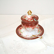 Limoges Condiment Dish with Attached Underplate & China Spoon.  Handpainted. Rare Color. V. Old.