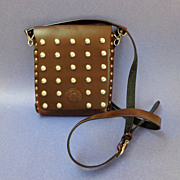 Genuine Leather Studded Purse.  Cross-body.  Flair!! Quality! Mint condition.