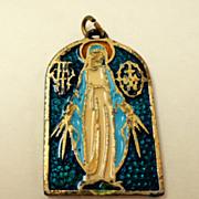 Virgin Mary Medal.  Italian.  Enameled. Heavy.