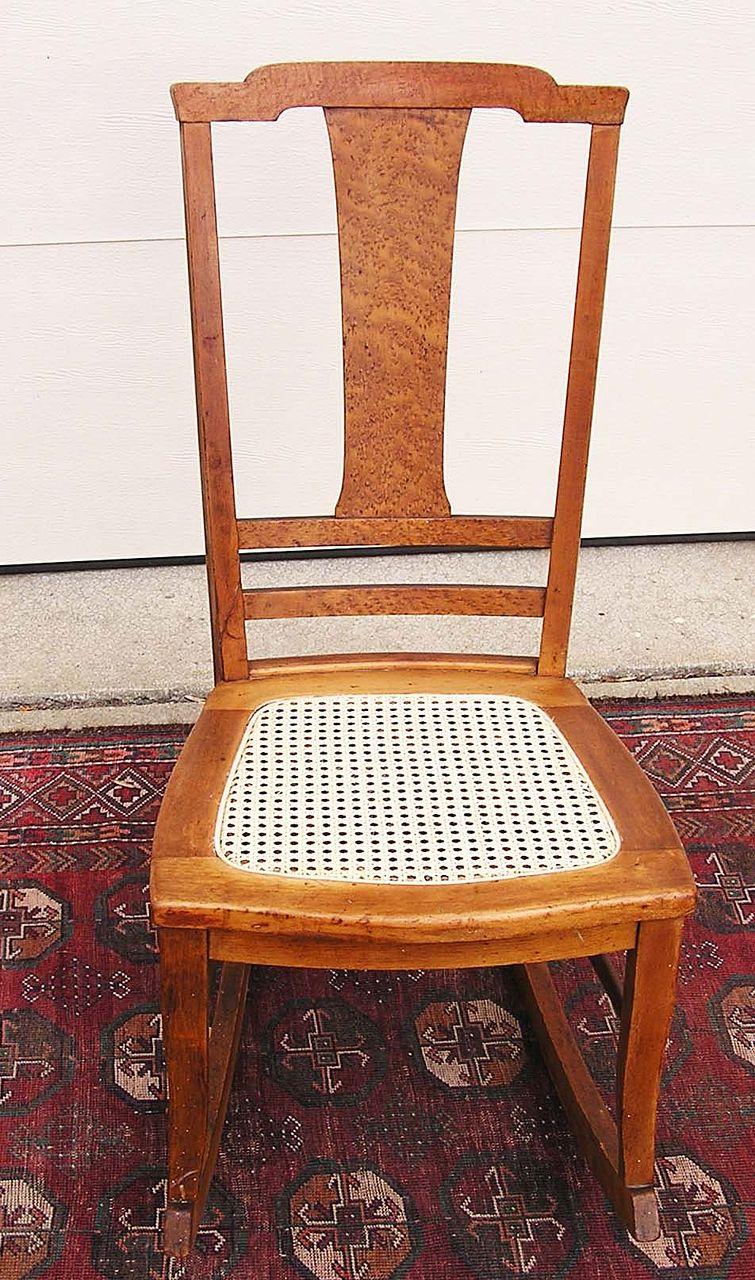 A T-Back Bird's Eye Maple Rocking Chair C. 1900-1915