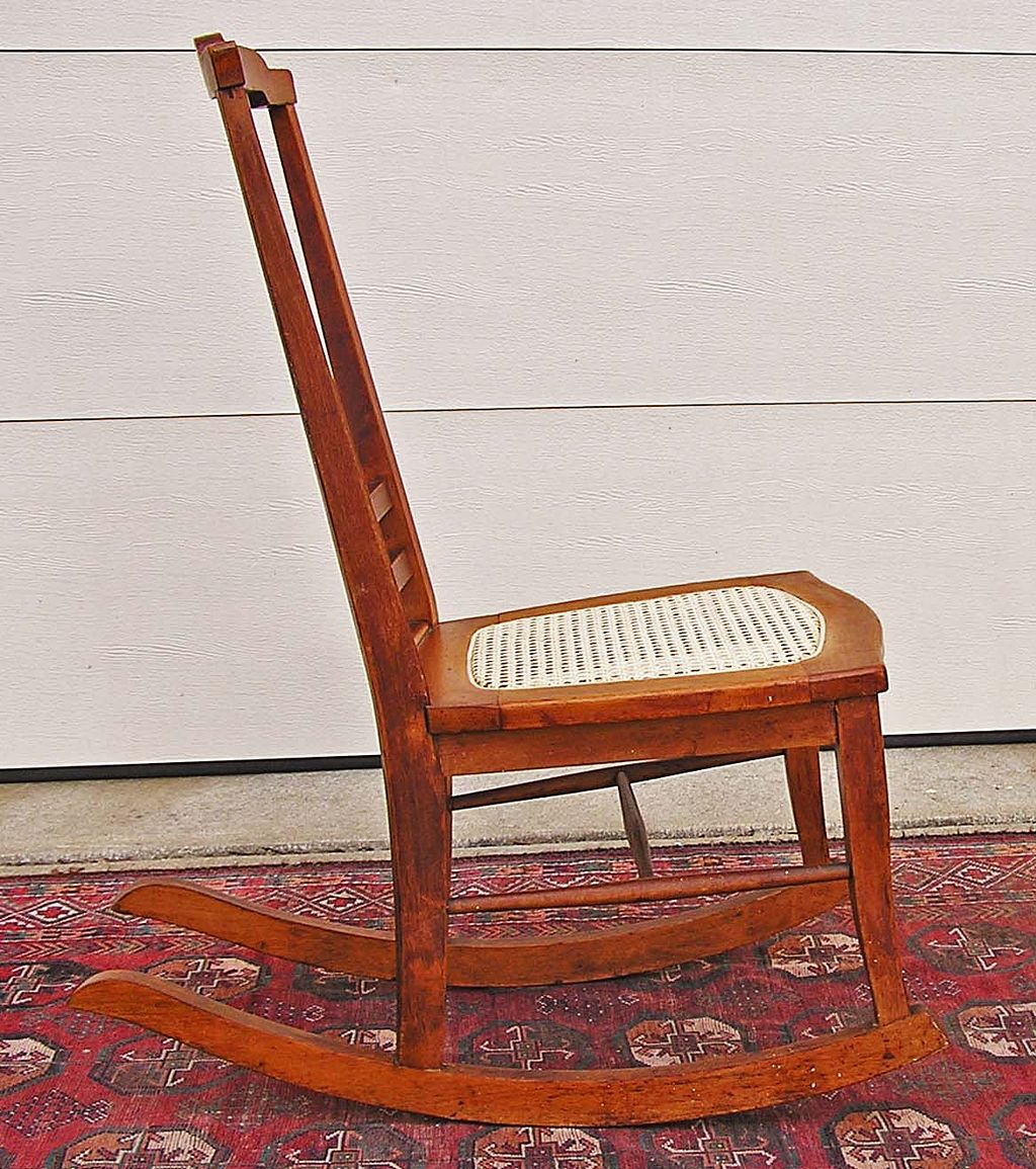 Back Bird's Eye Maple Rocking Chair C. 1900 1915 From Boylston . Full resolution  file, nominally Width 1024 Height 1155 pixels, file with #A83F23.