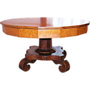 Magnificent  Late Classical  Period American Empire Cherry Bird's-eye Maple Mahogany Occasional Table C. 1830's